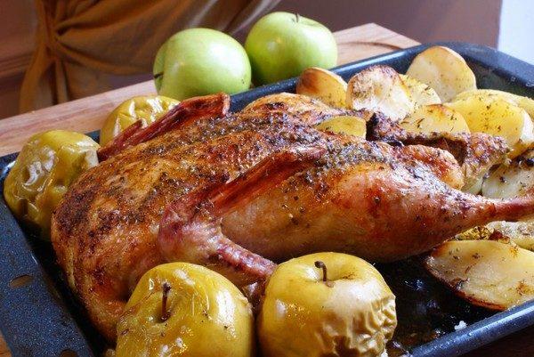 русская кухня, утка с яблоками